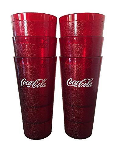Coca-Cola Cups, Red Plastic Tumbler 24-Ounce Restaurant Grade, Carlisle, Set of 6 (Restaurant Coca Cola Cup compare prices)