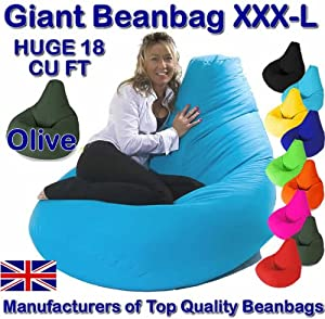 XXX-L GIANT OLIVE Highback Beanbag Water Resistant Beanbags for indoor or outdoor use Great as Gaming Chair or garden chair by Beautiful Beanbags Ltd