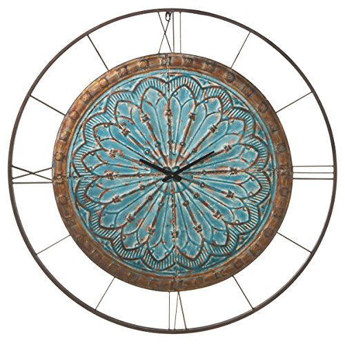 Midwest-CBK Distressed Medallion Wall Clock, Blue