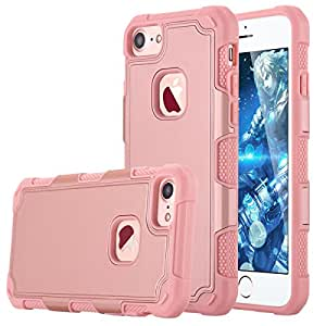 iPhone 7 Case, LONTECT Shockproof Dual Layer Hard PC Cover with Soft TPU Inner Hybrid Defender Impact Protective Case for Apple iPhone 7 - Rose Gold