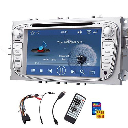 Doppio DIN lettore DVD Argento stereo per Ford S-max 2008-2012 Fuoco 2008-2010 Galaxy 2010-2012 Touchscreen con il GPS Navi cambiamento AM / FM RADIO / Sub / AUX / IPOD / CAR logo bluetooth incorporato + telecomando