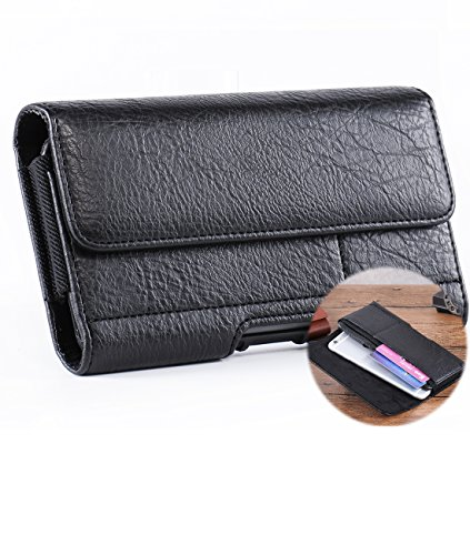 iPhone 6S/7 Plus Case Holster,Horizontal Premium Leather Carrying Case Pouch Belt Clip Holster with 2 Card Slots for Galaxy Note 5 4 7 S6/S7 Edge Plus LG G4/G3 with Case on+Free Hwin Keychain-Black (Iphone 4 Case Belt Clip Leather compare prices)