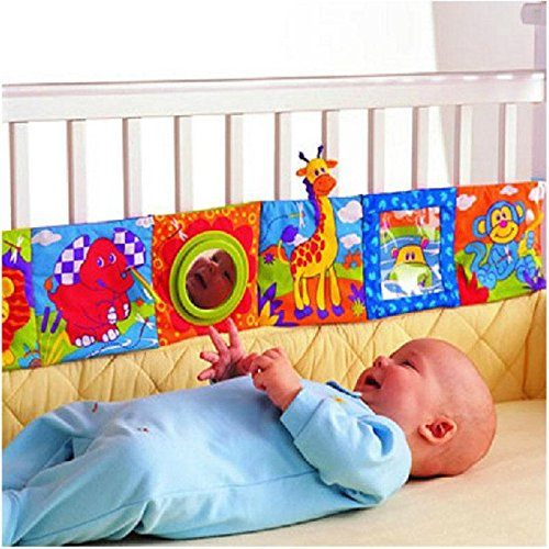 Eachbid Infant Kid Baby Crib Gallery High-Contrast Development Puzzle Zoo Cloth Book Toy