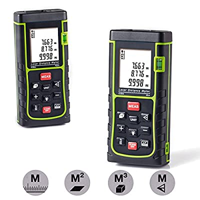 Laser Distance Measure,Handheld Range Finder Meter,Portable Measuring Device,Area/Volume/Distance/Pythagoras Calculation,Measurement Memory Recall,Tape Measure 0.05 to 40m(0.16 to 131ft)