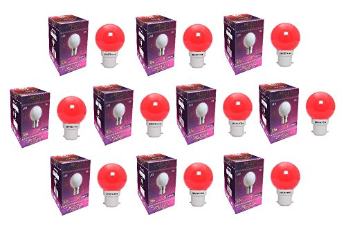 0.5W LED Bulbs (Red, Pack of 10)