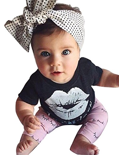 Little Girls Lip Print Top with Pink Leggings, Outfits Clothes Set