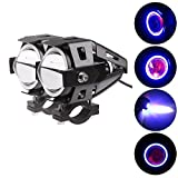 PR U7 Fog Light Lamp Projector Lens With Low Beam High Beam & Strobe Function Angel Light Color: Blue, (Devil eyes color :Red) For Motorcycle Bike Scooter Led Super Power Spot Beam Light For Yamaha Ray Z 2 Pcs