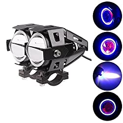 EASY4BUY U7 Led Super Bright With Ring Strip Color Light Fog Lamp Set of 2 Black for Royal Enfield Classic 350