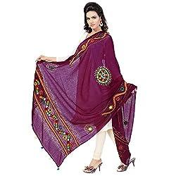 Banjara WomenS Cotton Stoles & Dupattas Kutchi Mirrorwork (Kch10 _Magenta Violet _Handicraft Dupatta_Free Size)