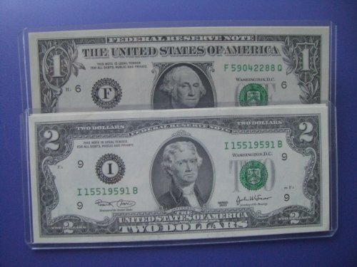 Lot Of Six New Uncirculated One And Two Dollar Bill Notes Set Of 3 $1 & 3 $2 Sequential Serial In Rigid Holders
