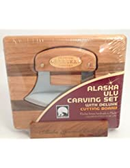 Alaska Ulu Carving Knife wi Cutting Board in Stand plus Instructional DVD by Great American Ulu Factory