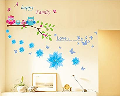 Dago© Owl and Flowers Happy Family Wall Stickers &