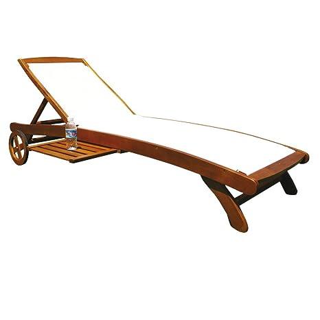 Cama de madera de acacia ajustable 8 posiciones ruedas tela jardín AC805071 gris
