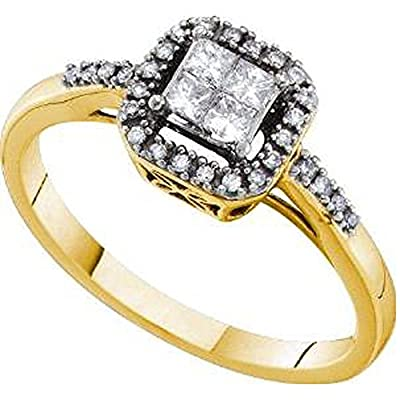 0.26 Carat (ctw) 14K Yellow Gold Princess And Round White Diamond Ladies Invisible Engagement Ring 1/4 CT