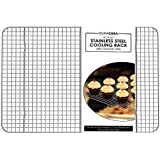 "Baking Rack - Cooling Rack - Stainless Steel 304 Grade Roasting Rack - Heavy Duty Oven Safe, Commercial Quality Cooling Racks For Baking - Metal Wire Grid Rack Design - Lifetime Guarantee (10"" X 15"")"