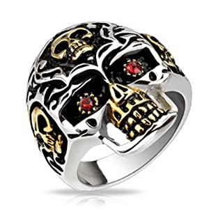 Silver Tone Demon Skull Ring Heavy Duty Stainless Steel Skull Ring Mens Fashion Jewelry (Size 9)