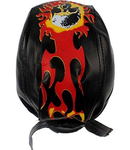 Skull & Flames Top Leather Bandana Biker Du Rag