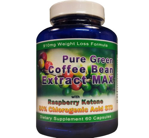 Pure Green Coffee Bean Extract Max Strongest Diet Pill 910 Mg Weight Loss Formula CONTAINS UP TO 54 9 CHLOROGENIC ACID Raw Green Coffee Bean Extract Max 800 Mg 100 Mg Raspberry Ketones