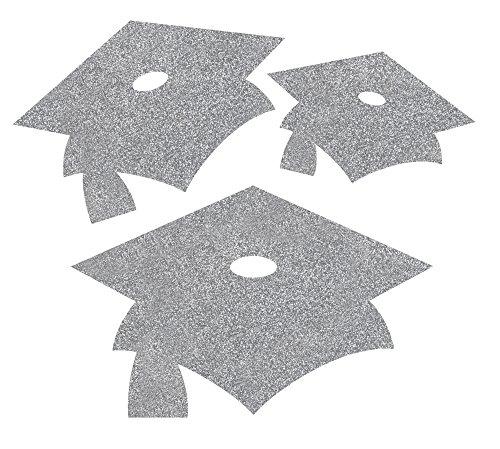 Creative Converting 12 Count Glitter Graduation Cap Cutouts, Mini, Silver