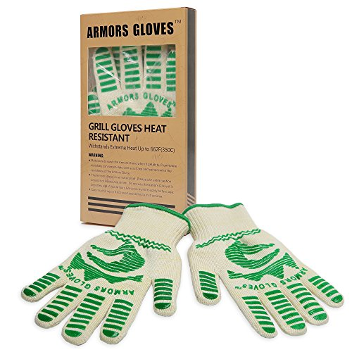 Armors Gloves (Single Glove) - Withstand Heat Up To 662F - Professional Heat Resistant Oven Gloves - Flexiable 5 Finger Oven Mitt For Grill, Cooking And Fireplace