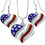 USA American Flag Heart Patriotic 4th of July Independence Day Pendant Necklace & Dangle Earrings Set