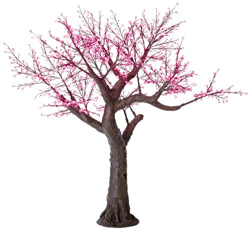 Arclite Nbl-230-1 Bonsai Cherry Blossom Tree With Leaves, 0.9M Height, With Natural Brown Trunk, Red Crystals And Red Lights