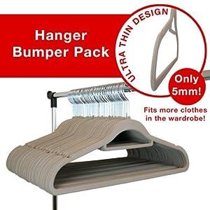 JVL Beige 100 pack thin velvet space saving non-slip coat hangers