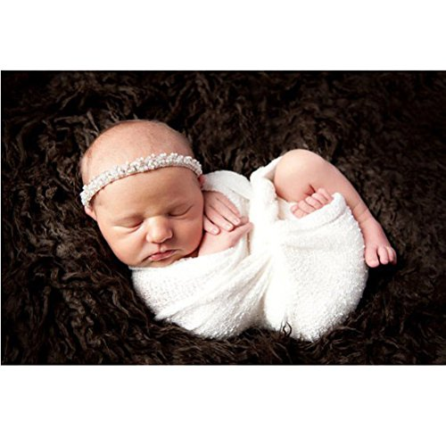 Tinksky Newborn Baby Photography Photo Prop Stretch Wrap Baby Long Ripple Wrap Off White Color
