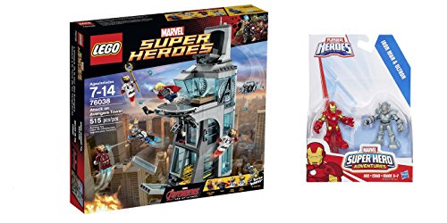LEGO Super Heroes Attack on Avengers Tower 515 Pcs & free Gifts Super Hero Adventures Iron Man and Ultron Figures (Colors may vary) Toys (Lego Batman Decals compare prices)