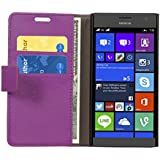 Cock Flip Cover For Nokia Lumia 730 Dual SIM Leather Case Cover With Kickstand Feature Purple