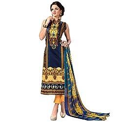 SHELINA Women Blue Glass Cotton Digital Printed Salwar Suit