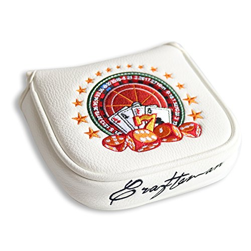 Craftsman Golf White Magnetic Russian Roulette Golf Square Mallet Putter Club Cover Headcover for Heel Shaft Scotty Cameron Odyssey Taylormade Cleveland Nike Ping etc.