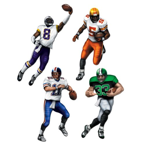 Beistle 55256 4-Pack Football Cutouts for Parties, 20-Inch