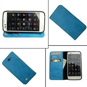 i-KitPit - PU Leather Wallet Flip Case Cover For Karbonn A21 (SKY BLUE)