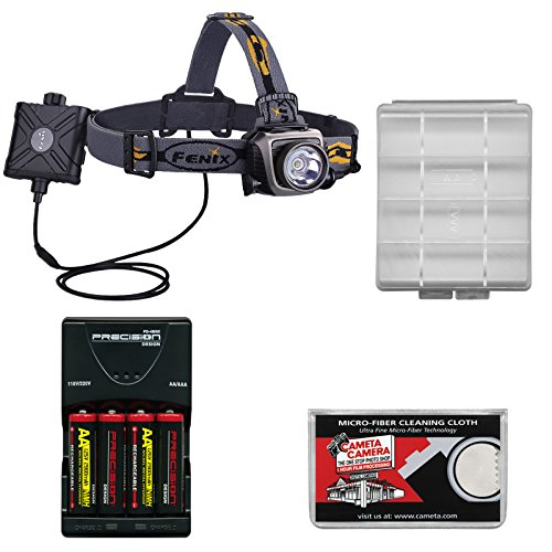 Fenix Hp15 Led Waterproof Headlamp Torch Flashlight (Gray) With 4 Aa Rechargeable Batteries & Charger + Case + Cloth