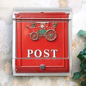 Design Briefkasten 38x42x11 von banjado mit Motiv Postkasten Nostalgie