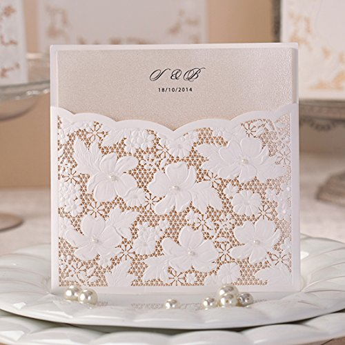 Wishmade 50x Laser Cut Trifold Wedding Invitations Cards with Pearls and Lace Cardstock for Engagement Birthday Baby Shower Bridal Shower Quinceanera Invitations(set of 50pcs) W1101