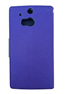 Eclipse Goospery HTC One M8 - Purple With Blue Magnetic Closure Wallet Case