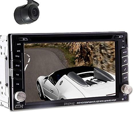 Pupug 6.2 pouces tactile Double Din En Pont voiture lecteur DVD vidšŠo iPod Stereo USB SD Bluetooth TV FM Radio AM RDS Port + Retour CamšŠra