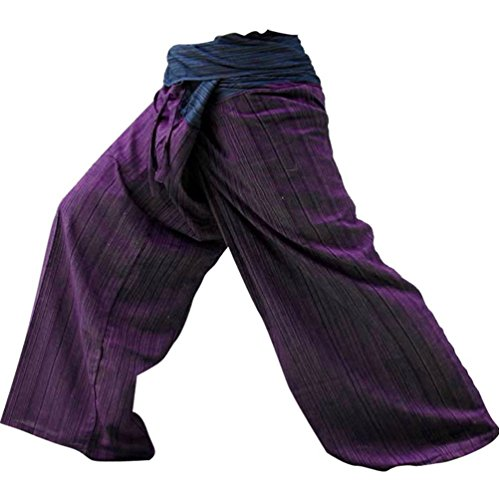 2-tone-thai-fisherman-pants-yoga-trousers-free-size-cotton-blue-and-maroon-new