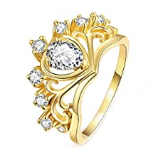 buy Jl Pretty Austrian Crystal Princess Crown Ring Wedding Engagement Rings For Women