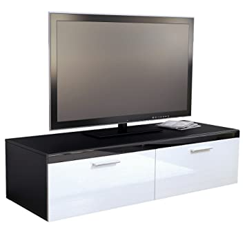 meuble tv bas atlanta atlanta en noir mat blanc. Black Bedroom Furniture Sets. Home Design Ideas