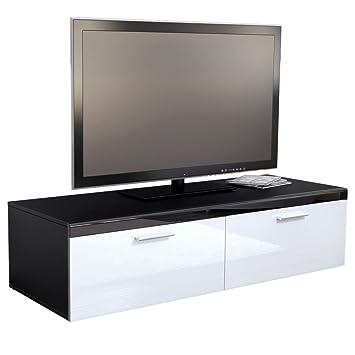 meuble tv bas atlanta atlanta en noir mat blanc blanc laqu haute brillance cuisine. Black Bedroom Furniture Sets. Home Design Ideas