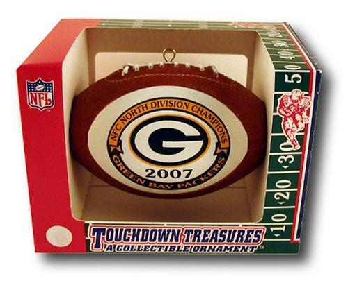 Green Bay Packers 2007 NFC North Division Champions Football Shaped Holiday Christmas Ornament