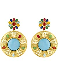 Colors TV Navrang Collection Multicolored Stones Studded Dangled Earrings By Voylla
