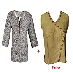 Geroo Women's Round Neck Cotton hand block printed Top and one Top Free.