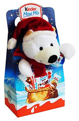 Kinder Natale Peluche 23cm Orso Bianco con Kinder Maxi, Bueno eccetera 133g
