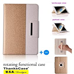 Ipad Air 2 Case Rotating Case with a Bonus Screen Protector By Thankscase, Cover Only for Ipad Air 2 2014 Release with Wallet and Pocket with Hand Strap with Smart Cover Function for Ipad Air 2 2014. (Gold)