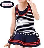 (ジョリーイグレック) JOLIE.y 水着 子供 キッズ かわいい スイミング ウェア ボーダー スカート ストライプ セパレート 旅行 キュート ガール 女の子 女児 A02 (130cm, ネイビー)