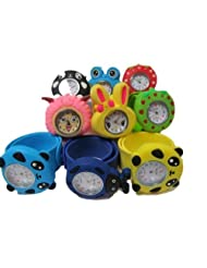 5x kids children's slap on snap silicone band Mickey, Nemo, bees, frog, panda, bunny wrist watches for party gift...